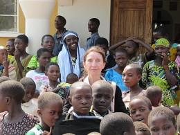Parishioner Jean Jolly with children in Tanzania.