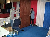 The booth being erected<br>in the main Exhibition Hall